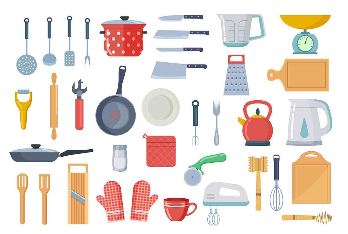 台所で料理する